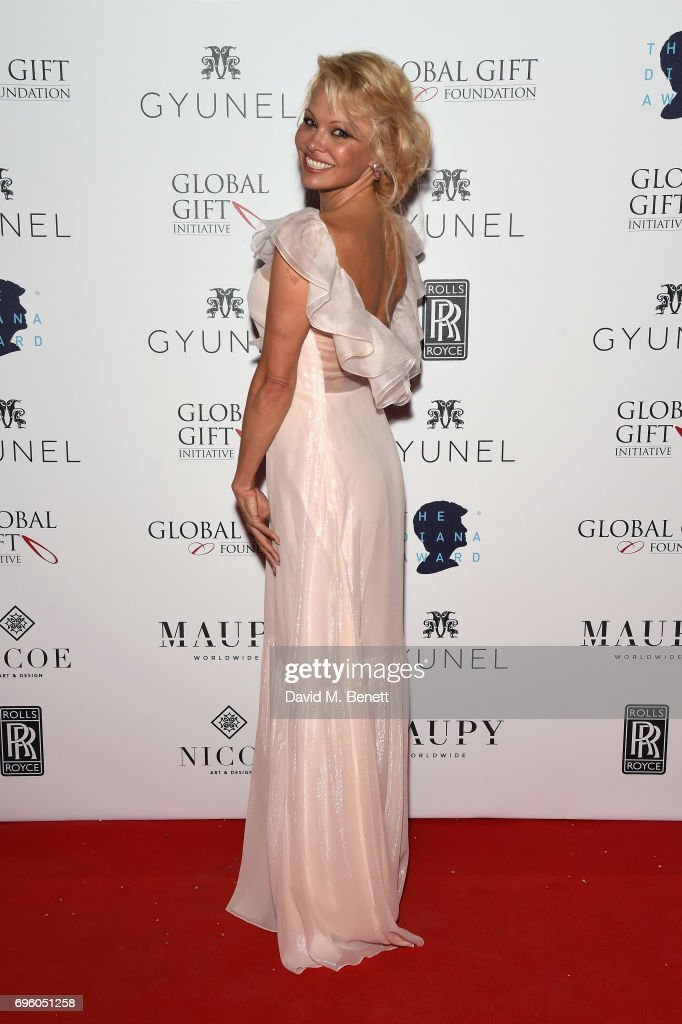 Pamela Anderson attends the Global Gift Gala for The Diana Award, hosted by Earl Spencer at Althorp House on June 14, 2017 in Northampton, England.