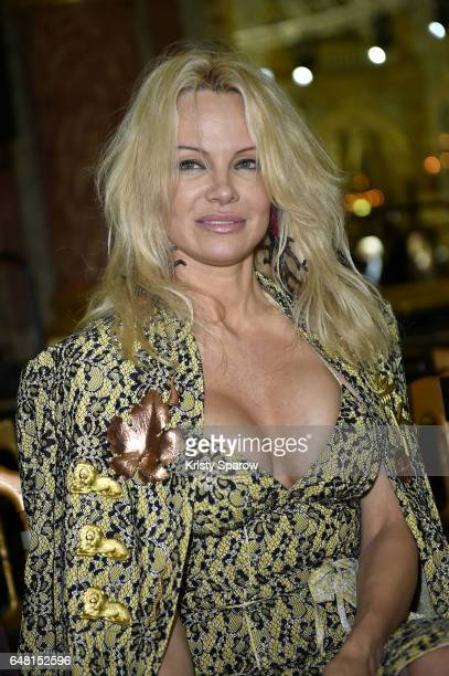 Pamela Anderson attends the Vivienne Westwood show as part of Paris Fashion Week Womenswear Fall/Winter 2017/2018 on March 4 2017 in Paris France