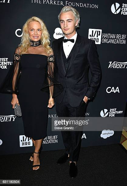 Pamela Anderson Brandon Thomas Lee arrives at the 6th Annual Sean Penn Friends HAITI RISING Gala Benefiting J/P Haitian Relief Organization at...