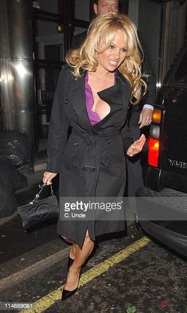 Pamela Anderson during Pamela Anderson Sighting with New Boyfriend Laurence Hallier at Cipriani in London March 10 2006 at Cipriani in London United...