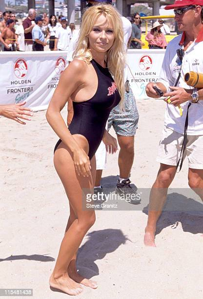 Pamela Anderson during Pamela on Baywatch Set in Huntington Beach California United States