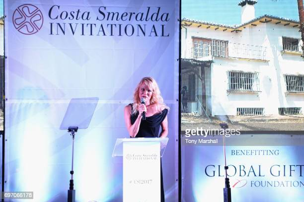 Pamela Anderson holds a speech during The Costa Smeralda Invitational Gala Dinner at Cala di Volpe Hotel Costa Smeralda on June 17 2017 in Olbia Italy