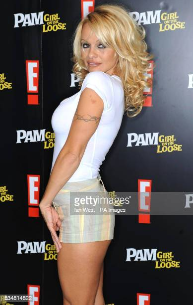 Pamela Anderson is seen at a press conference to launch Pam Girl On The Loose at the Dorchester Hotel central London The new show is to be...