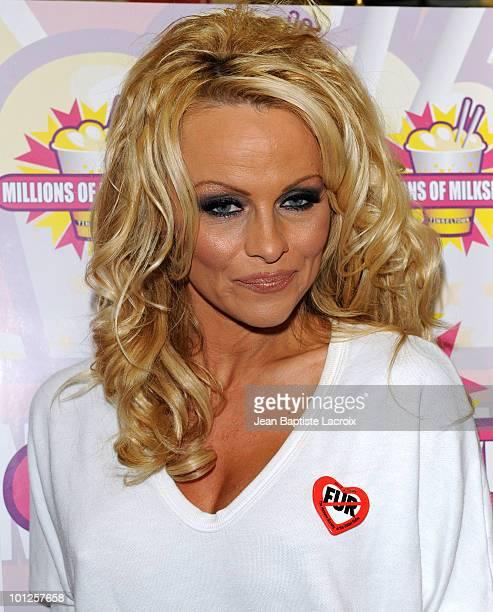 Pamela Anderson launchs her AllVegan shake at Millions Of Milkshakes on April 9 2010 in West Hollywood California