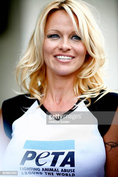 Pamela Anderson makes an appearance on behalf of PETA in front of the Department of Health and Human Services April 25 2008 in Washington DC Anderson...