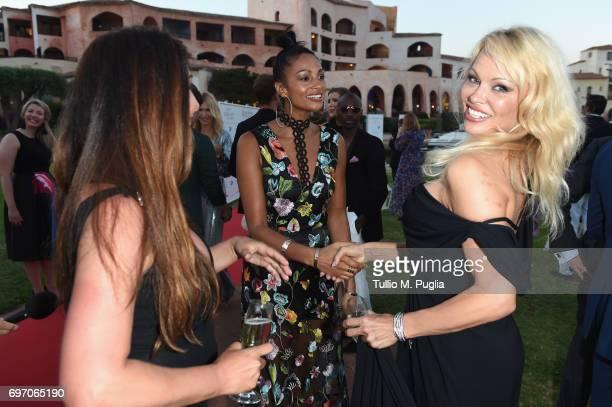Pamela Anderson Maria Bravo and Alesha Dixon attend The Costa Smeralda Invitational Gala Dinner at Cala di Volpe Hotel Costa Smeralda on June 17 2017...