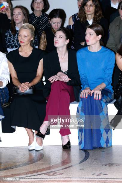 Pamela Anderson MarieAgnes Gillot and Charlotte Casiraghi attend the Stella McCartney show as part of the Paris Fashion Week Womenswear Fall/Winter...