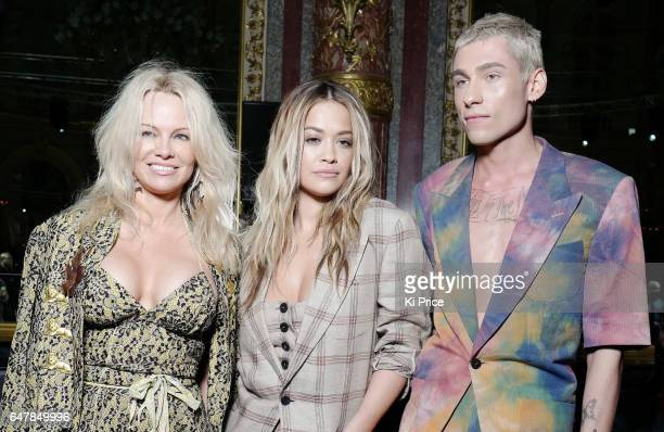 Pamela Anderson Rita Ora Kyle De'Volle attend the Vivienne Westwood show as part of the Paris Fashion Week Womenswear Fall/Winter 2017/2018 on March...
