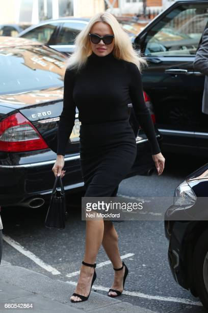 Pamela Anderson seen arriving at the Ecuadorian Embassy to visit her friend Julian Assange on March 30 2017 in London England