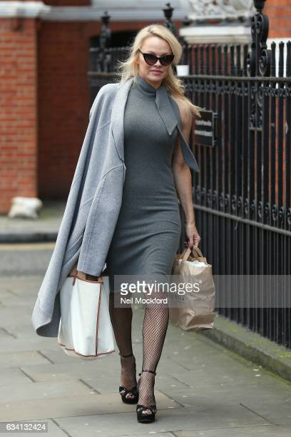 Pamela Anderson seen at the Ecuadorian Embassy taking vegan cheeseburgers to Julian Assange on February 7 2017 in London England
