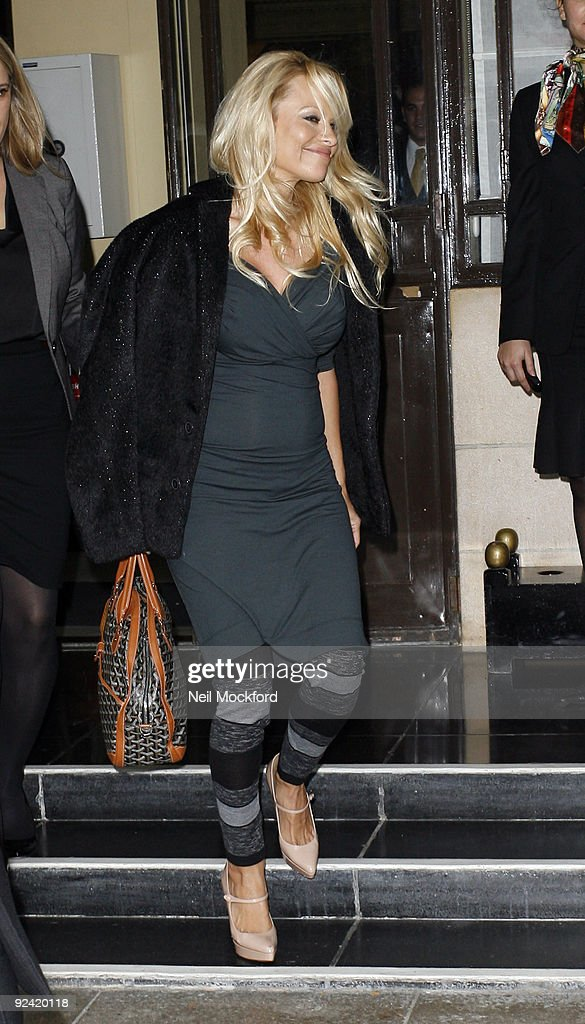Pamela Anderson sighted Leaving The Dorchester Hotel on October 28, 2009 in London, England.