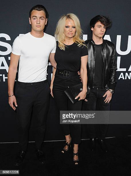 Pamela Anderson son Brandon Thomas Lee and son Dylan Jagger Lee arrive at SAINT LAURENT At The Palladium at Hollywood Palladium on February 10 2016...