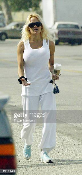 Pamela Anderson walks in Malibu after meeting with former husband and musician Tommy Lee drummer for Motley Crue at the Malibu Courthouse after a...