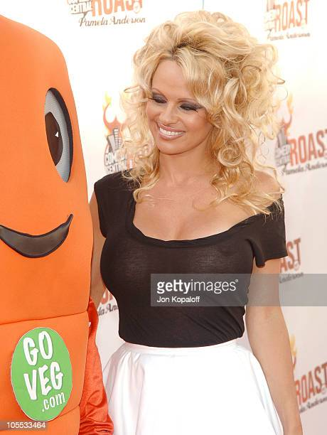Pamela Anderson with Chris P Carrot PETA mascot during Comedy Central Roast of Pamela Anderson Arrivals at Sony Studios / Stage 15 in Culver City...
