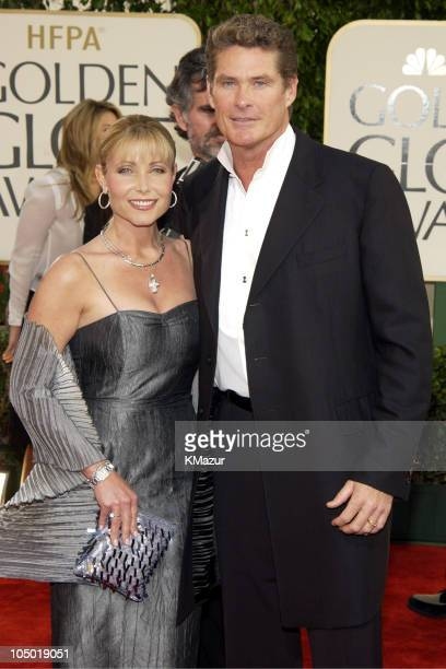 Pamela Bach and David Hasselhoff during The 60th Annual Golden Globe Awards Arrivals at The Beverly Hilton Hotel in Beverly Hills California United...