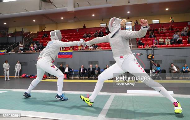 Pamela Brind'amour of Team Canada fences Milagros Pastran of Team Venezuela during the bronze medal match of the Team Women's Sabre event on June 17...