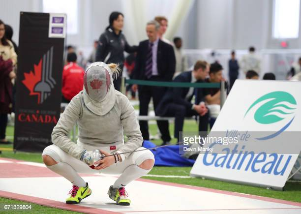 Pamela Brind'Amour waits while the referees review a call during the Senior Women's Sabre event on April 21 2017 at the Canadian National Fencing...