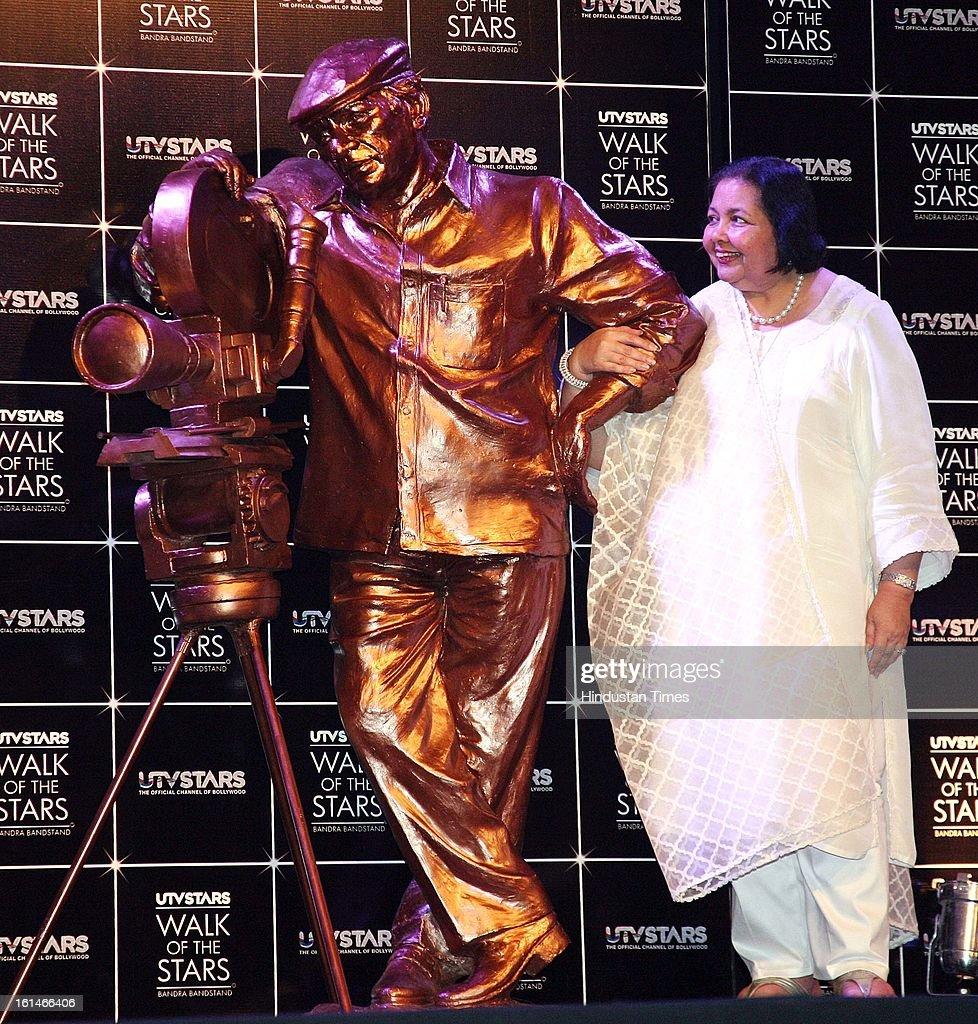 Pamela Chopra Wife of late Yash Chopra unveiling of Yash Chopra's statue at Yesh Raj Studio on February 11, 2013 in Mumbai, India.