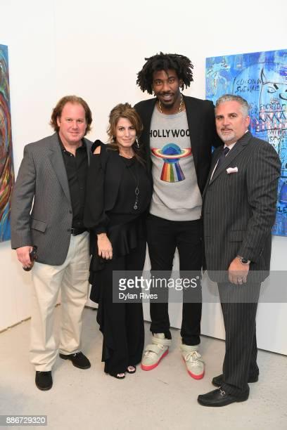 Pamela Cohen Amar'e Stoudemire and Nick Korniloff attend the Art Miami CONTEXT 2017 at Art Miami Pavilion on December 5 2017 in Miami Florida