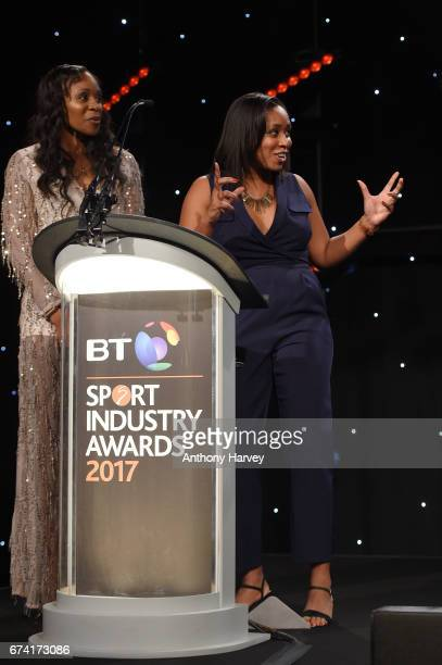 Pamela Cookey and Ebony RainfordBrent present the Brand of the Year award in association with Pinsent Masons during the BT Sport Industry Awards 2017...