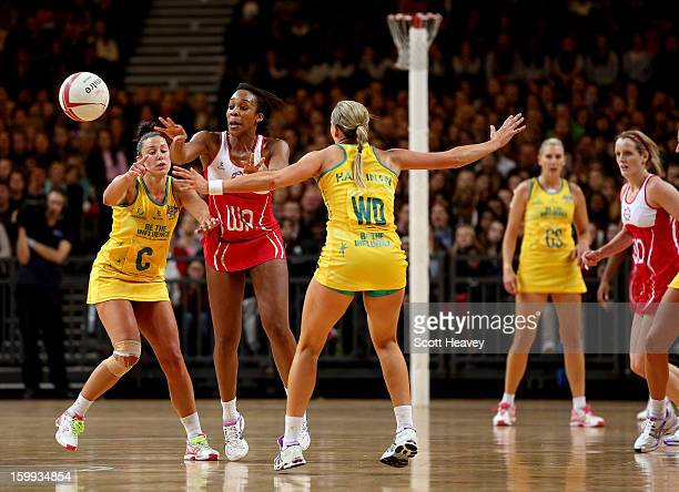 Pamela Cookey of England in action during the International Netball Series between England and Australia at Wembley Arena on January 23 2013 in...