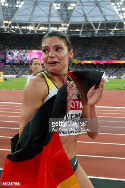 Pamela Dutkiewicz of Germany looks emotional after winning 3rd place in the Women's 100m Hurdles Final during day nine of the 16th IAAF World...