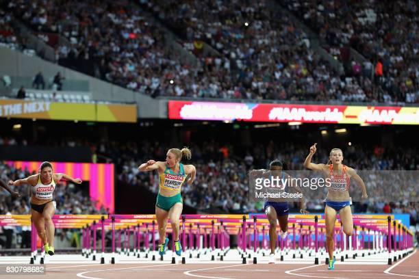 Pamela Dutkiewicz of Germany Sally Pearson of Australia Kendra Harrison of the United States and Nadine Visser of Netherlands cross the finish line...