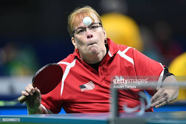 Pamela Fontaine of the USA competes in the Women's singles Table Tennis Class 3 on day 1 of the Rio 2016 Paralympic Games at Riocentro Pavilion 3 on...