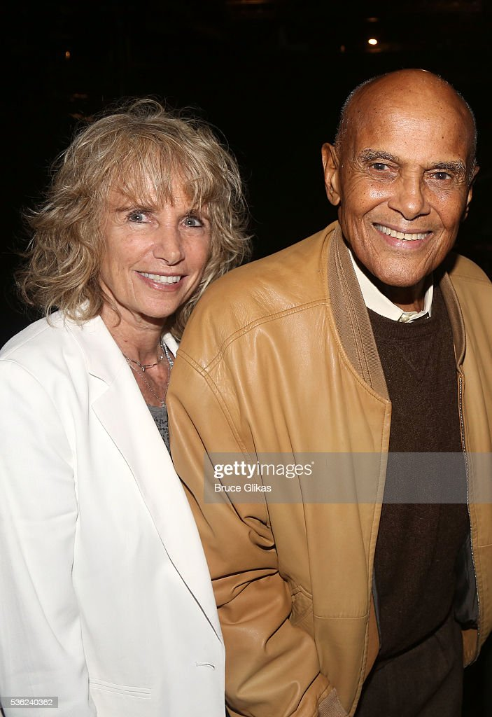 Pamela Frank and husband Harry Belafonte pose backstage at the hit play 'Turn Me Loose' at The Westside Theatre on May 31, 2016 in New York City.