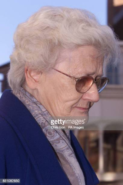 Pamela Green the mother of Roy Whiting leaves Lewes Crown Court in East Sussex after hearing the judge's summing up of the trial of her son who is...