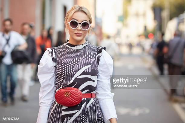 Pamela is seen wearing a Gucci bag during Milan Fashion Week Spring/Summer 2018 on September 24 2017 in Milan Italy