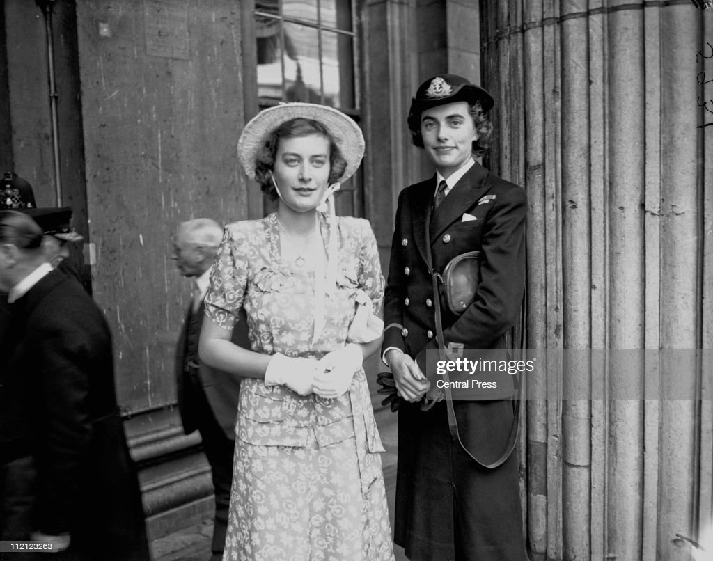 Pamela Mountbatten (later Hicks, left) and Patricia Mountbatten (later Knatchbull), at Mansion House in London, 10th July 1946. They are accompanying their father, Lord Louis Mountbatten, as he receives the Freedom of the City of London. Patricia is wearing the uniform of a Wren, of the Women's Royal Naval Service, from which she has recently been demobilised.