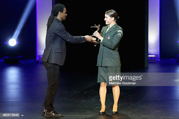 Pamela Oliveira is presented with the Triathlon Athlete of the Year Trophy during the Brazil Olympics Awards Ceremony at Theatro Municipal on...