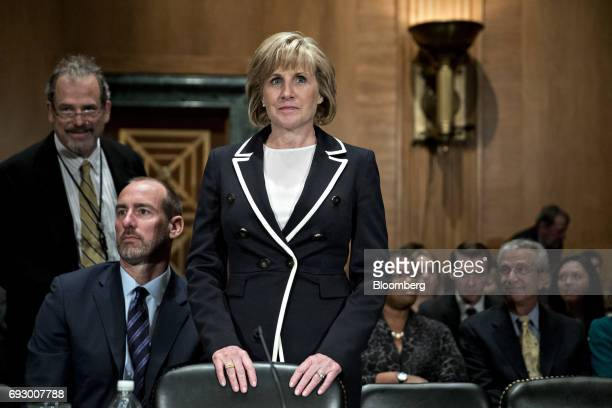 Pamela Patenaude deputy secretary of Housing and Urban Development nominee for US President Donald Trump waits to begin a Senate Banking Committee...