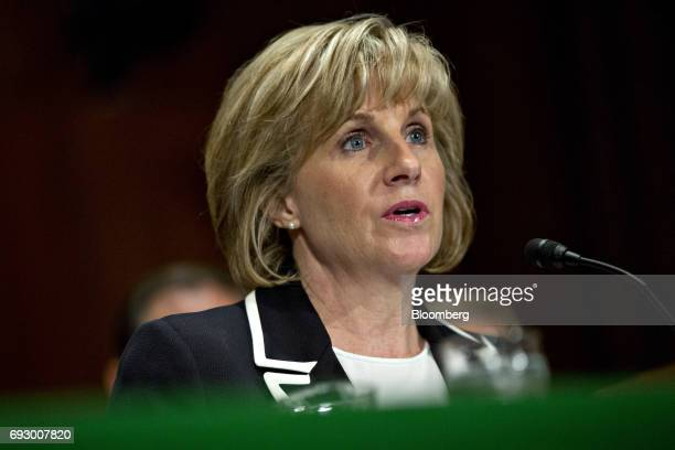 Pamela Patenaude deputy secretary of Housing and Urban Development nominee for US President Donald Trump speaks during a Senate Banking Committee...