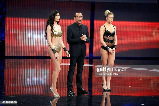 Pamela Prati Carlo Conti and Costanza Caracciolo attend 'Si Puo Fare' Tv Show at RAI Studios on April 13 2015 in Rome Italy
