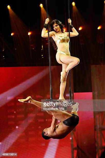 Pamela Prati performs during the 'Si Puo Fare' Tv Show at RAI Studios on April 13 2015 in Rome Italy