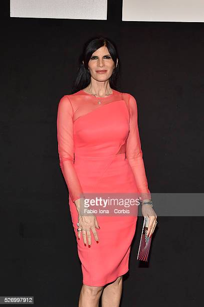 Pamela Prati pose at the Elisabetta Franchi SHOW during Milan Fashion Week Womenswear Fall/Winter 2016 on February 26 2016 in Milan Italy
