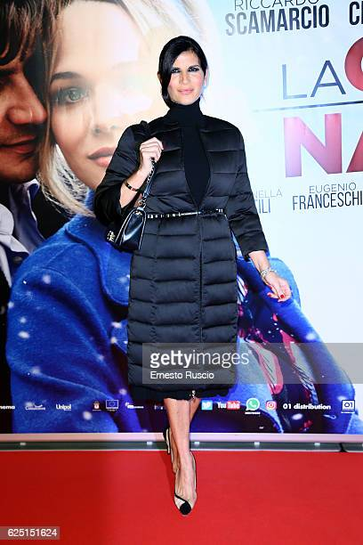 Pamela Prati walks a red carpet for 'La Cena Di Natale' at Cinema Adriano on November 22 2016 in Rome Italy