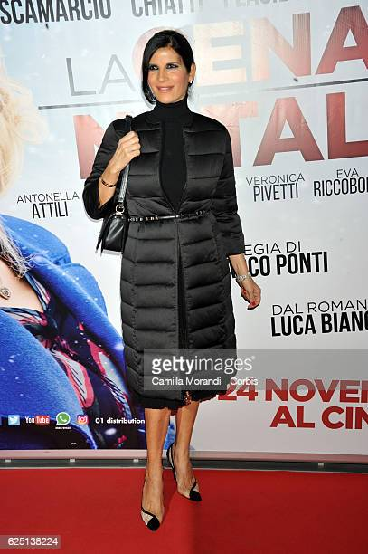 Pamela Prati walks a red carpet for 'La Cena Di Natale' on November 22 2016 in Rome Italy