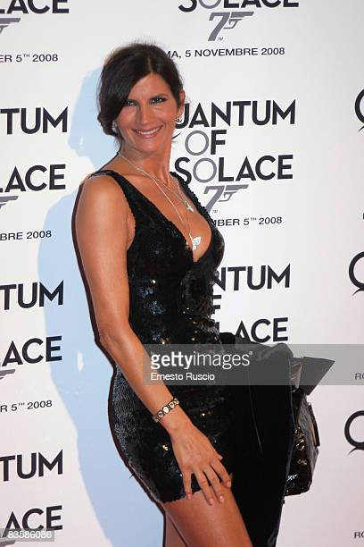 Pamela Prati wearing Chanel attends the 'Quantum Of Solace' premiere at the Warner Village Moderno cinema she wear on November 5 2008 in Rome Italy
