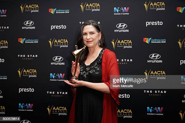 Pamela Rabe poses with an AACTA Award for Best Lead Actress in a Television Drama during the 5th AACTA Awards Presented by Presto at The Star on...