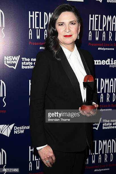 Pamela Rabe poses with the award for Best Female Actor in a Play at the Capitol Theatre on July 27 2015 in Sydney Australia