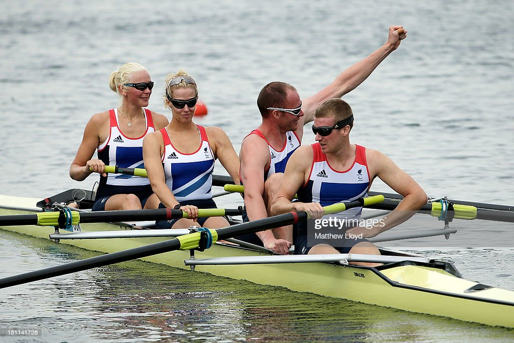 Pamela Relph, Naomi Riches, David Smith and James Roe of Great Britain's Mixed Coxed Four Rowing - LTAMix4+ team celebrate after winning gold on day 4 of the London 2012 Paralympic Games at Eton Dorney on September 2, 2012 in Windsor, England.