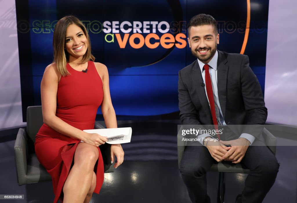 Pamela Silva and Borja Voces are seen on the set of 'Primer Impacto' at Univision's Newsport Studios on March 13, 2017 in Miami, Florida.