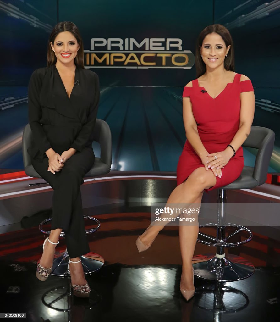 Pamela Silva (L) and Jackie Guerrido are seen on the set of 'Primer Impacto' at Univision's Newsport Studios on February 21, 2017 in Miami, Florida.