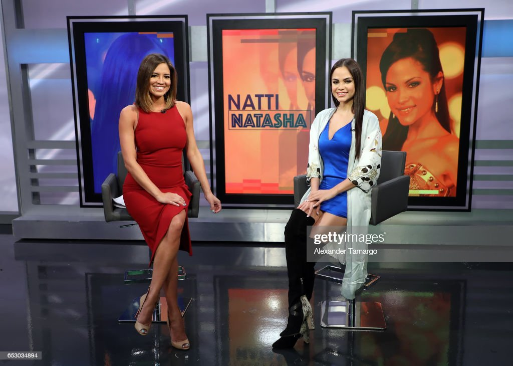 Pamela Silva and Natti Natasha are seen on the set of 'Primer Impacto' at Univision's Newsport Studios on March 13, 2017 in Miami, Florida.