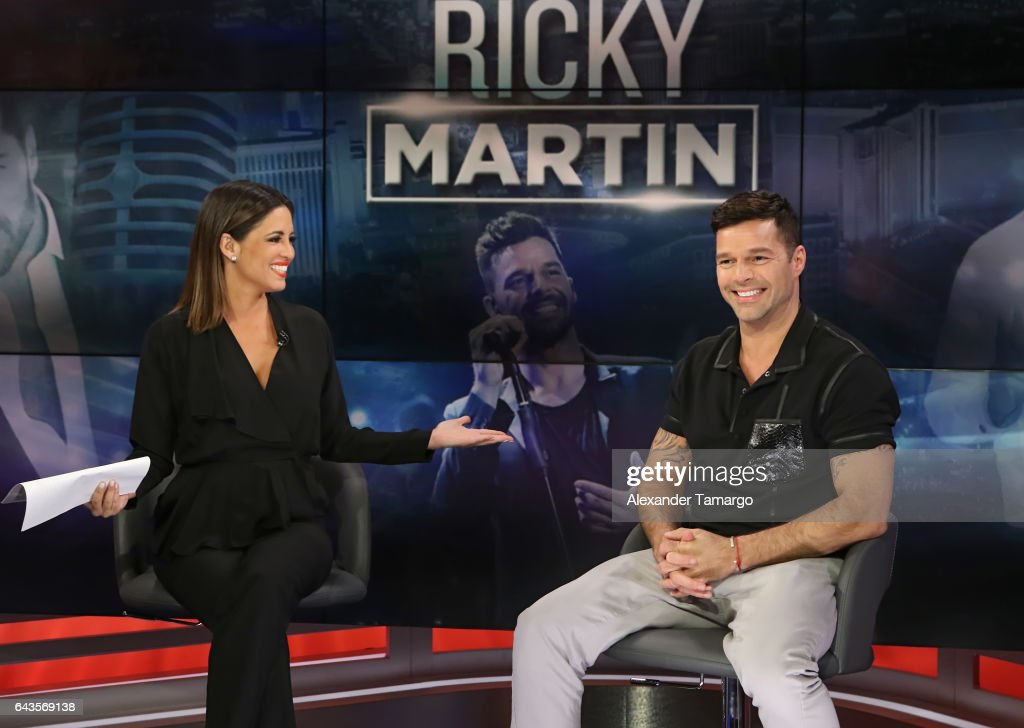 Pamela Silva and Ricky Martin are seen on the set of 'Primer Impacto' at Univision's Newsport Studios on February 21, 2017 in Miami, Florida.