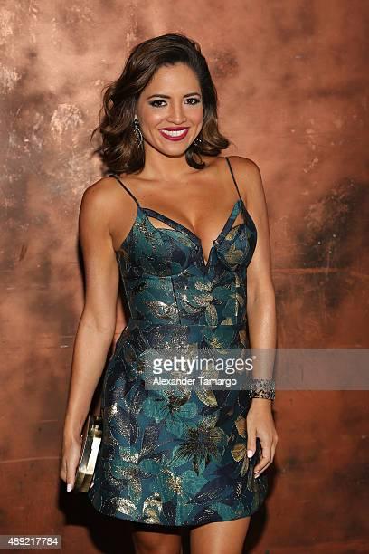 Pamela Silva Conde poses in the VIP area at Univision's 'Sabado Gigante' Finale at Univision Studios on September 19 2015 in Miami Florida