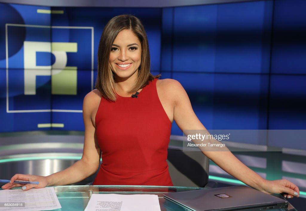 Pamela Silva is seen on the new set of 'Primer Impacto' at Univision's Newsport Studios on March 13, 2017 in Miami, Florida.